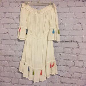 Blush white off the shoulder tassel dress Sz S